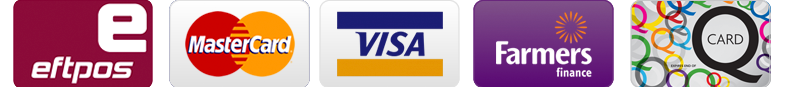 We Accept Visa, Mastercard, QCard, Farmers, Eftpos